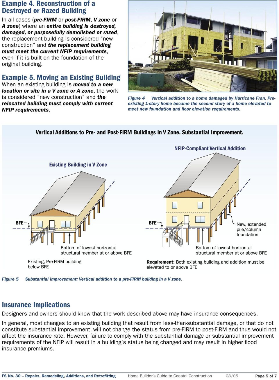 replacement building is considered new construction and the replacement building must meet the current NFIP requirements, even if it is built on the foundation of the original building. Example 5.