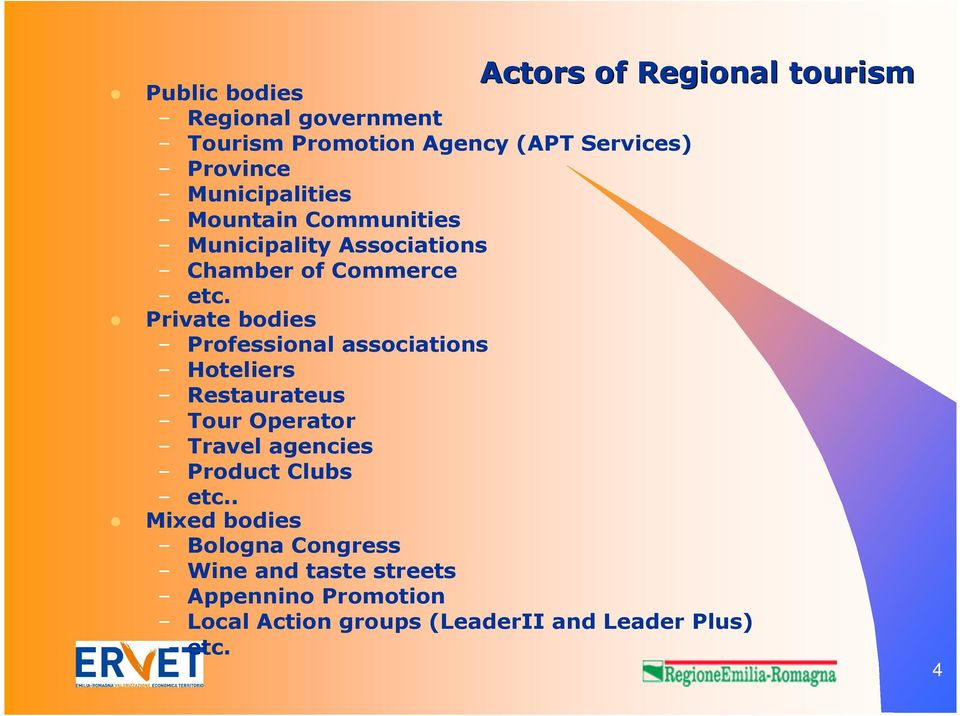 Private bodies Professional associations Hoteliers Restaurateus Tour Operator Travel agencies Product Clubs