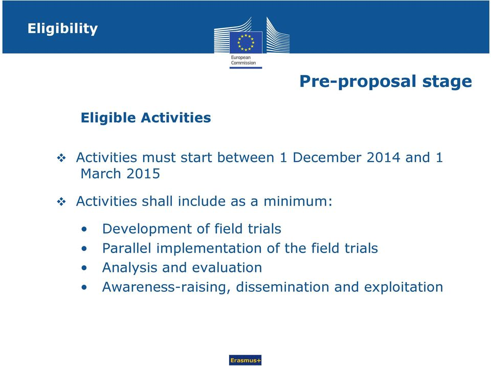 minimum: Development of field trials Parallel implementation of the field