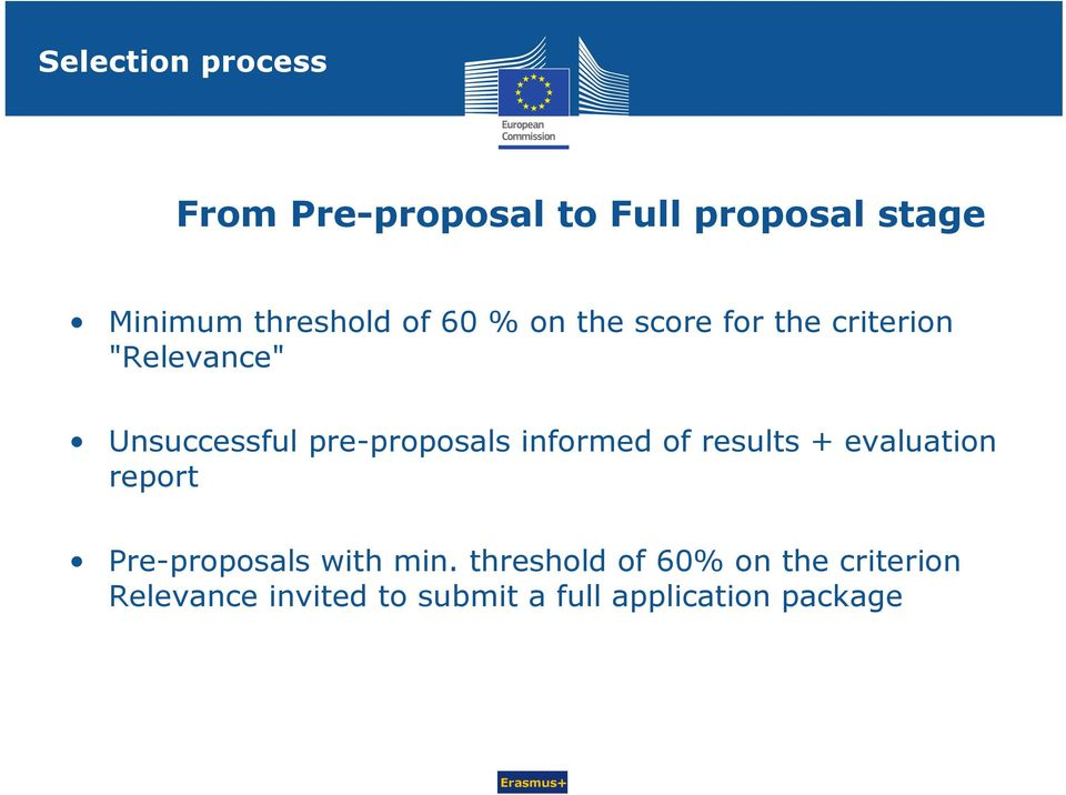 pre-proposals informed of results + evaluation report Pre-proposals with min.