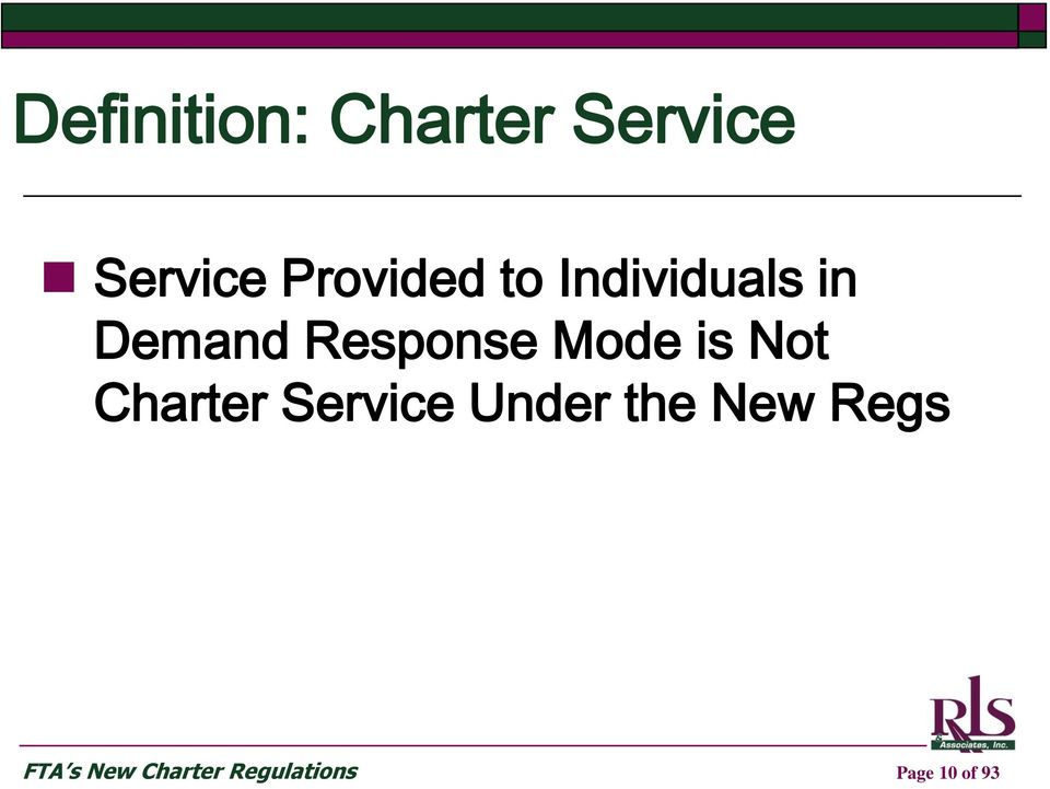 Mode is Not Charter Service Under the New