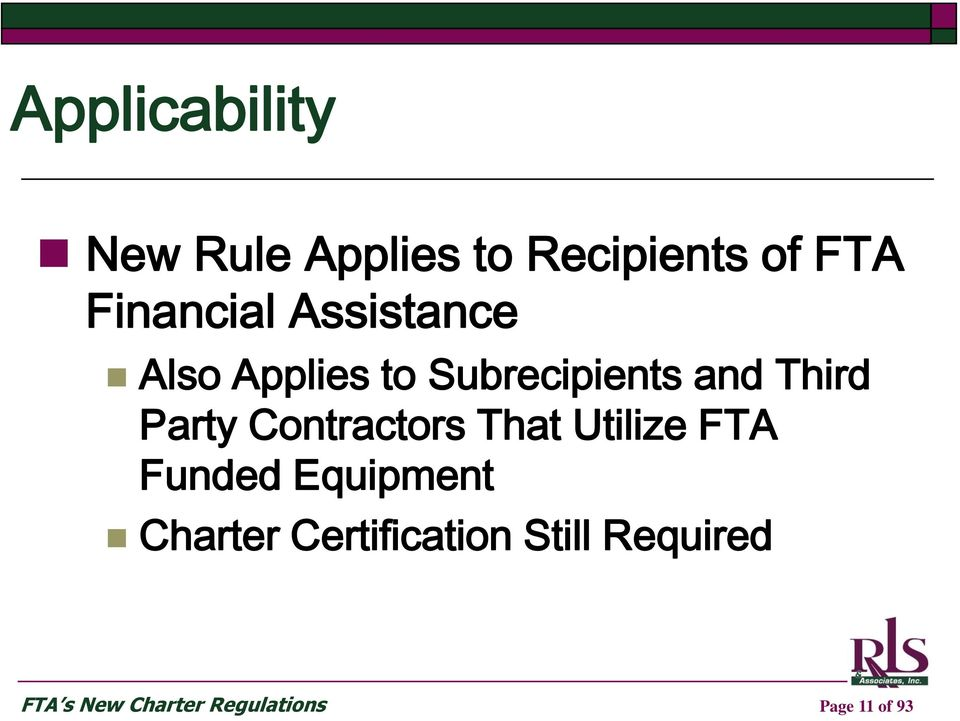 Contractors That Utilize FTA Funded Equipment Charter