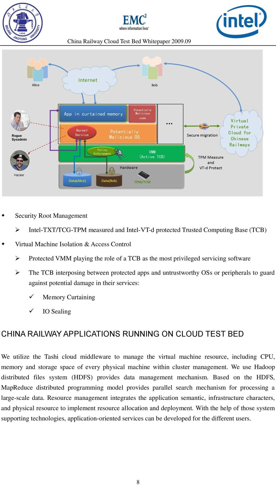 CHINA RAILWAY APPLICATIONS RUNNING ON CLOUD TEST BED We utilize the Tashi cloud middleware to manage the virtual machine resource, including CPU, memory and storage space of every physical machine