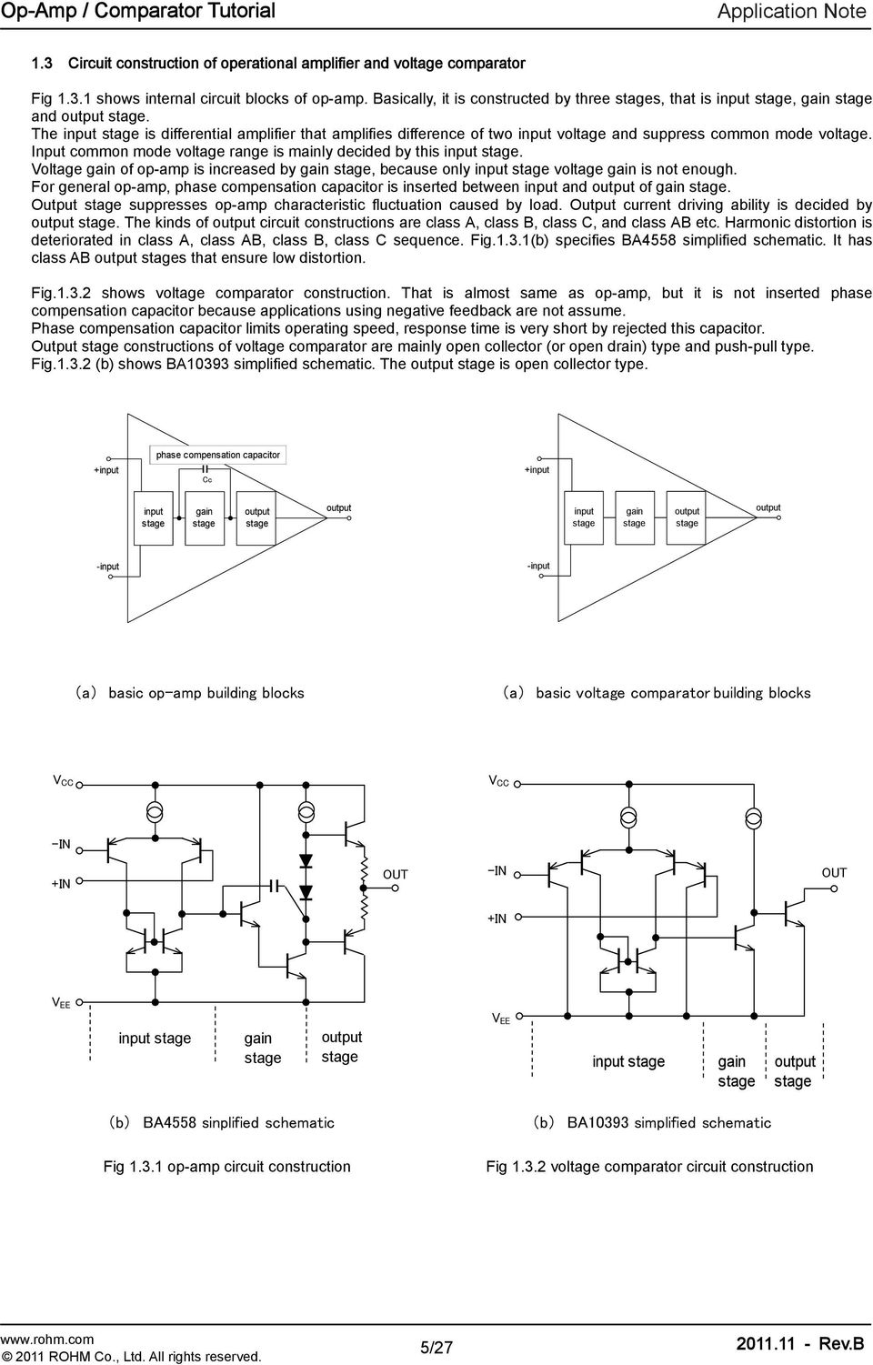 Operational Amplifiers Comparators Application Note Op Amp As Comparator Circuit 741 Construction Fig Voltage 5 27 The Input Stage Is Dierential Ampliier That Ampliies Dierence O Two