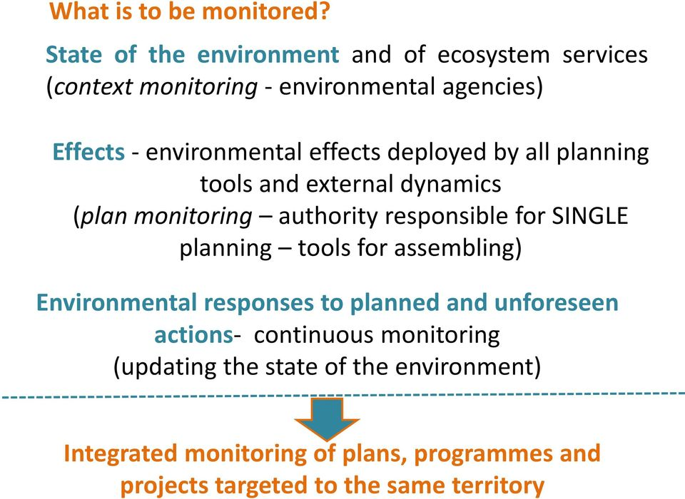 effects deployed by all planning tools and external dynamics (plan monitoring authority responsible for SINGLE planning