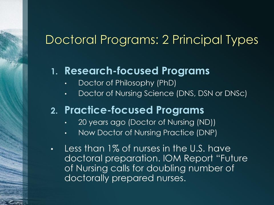 2. Practice-focused Programs 20 years ago (Doctor of Nursing (ND)) Now Doctor of Nursing Practice