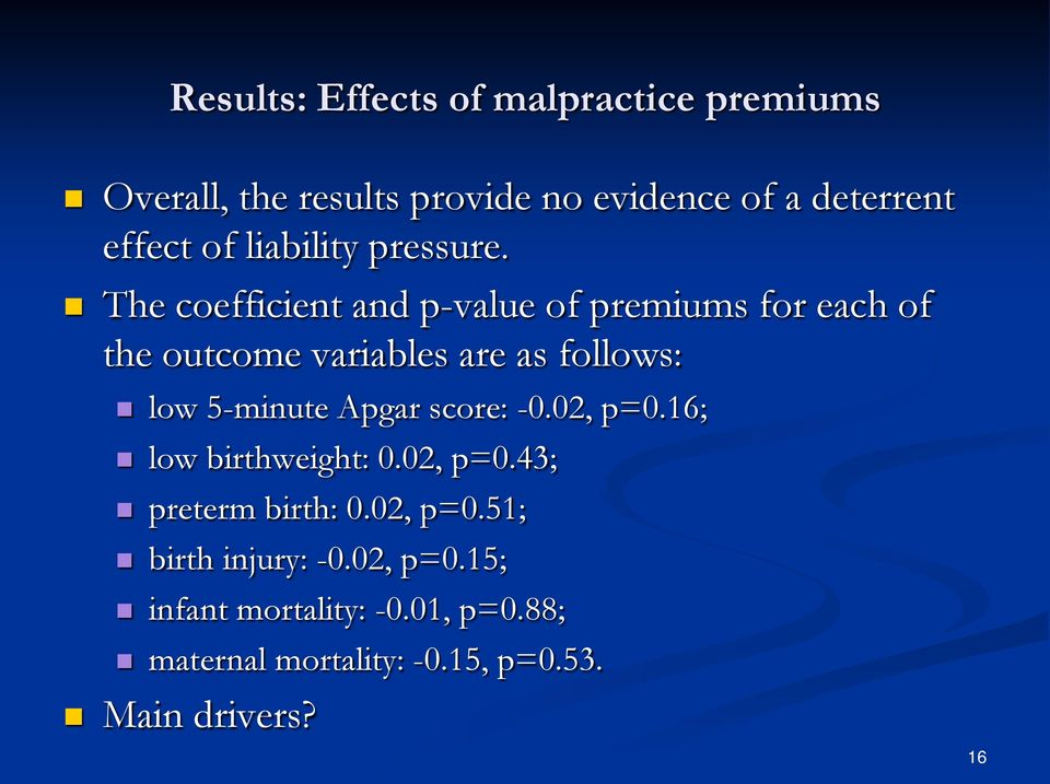 The coefficient and p-value of premiums for each of the outcome variables are as follows: low 5-minute