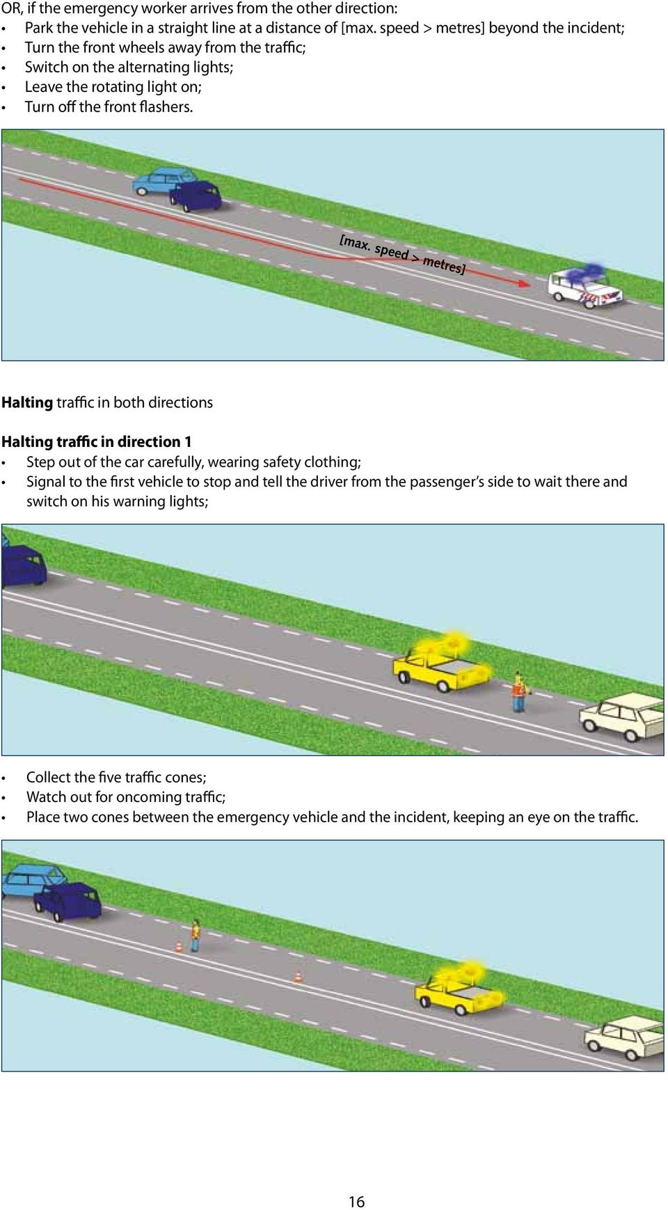 speed > metres] Halting traffic in both directions Halting traffic in direction 1 Step out of the car carefully, wearing safety clothing; Signal to the first vehicle to stop and