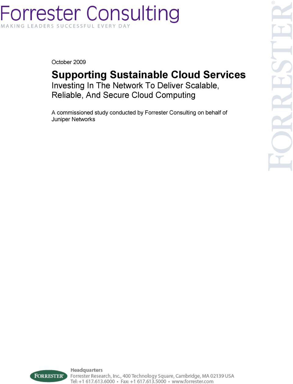 Reliable, And Secure Cloud Computing A commissioned