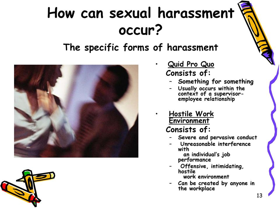 within the context of a supervisoremployee relationship Hostile Work Environment Consists of: Severe
