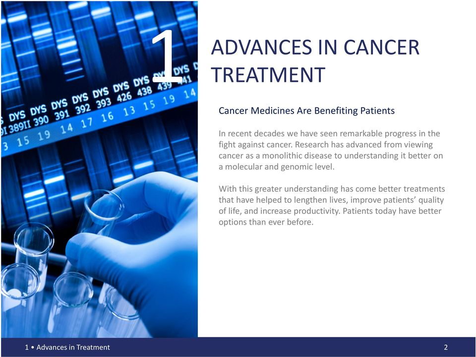 Research has advanced from viewing cancer as a monolithic disease to understanding it better on a molecular and genomic level.