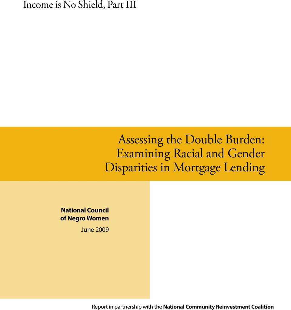 Lending National Council of Negro Women June 2009 Report