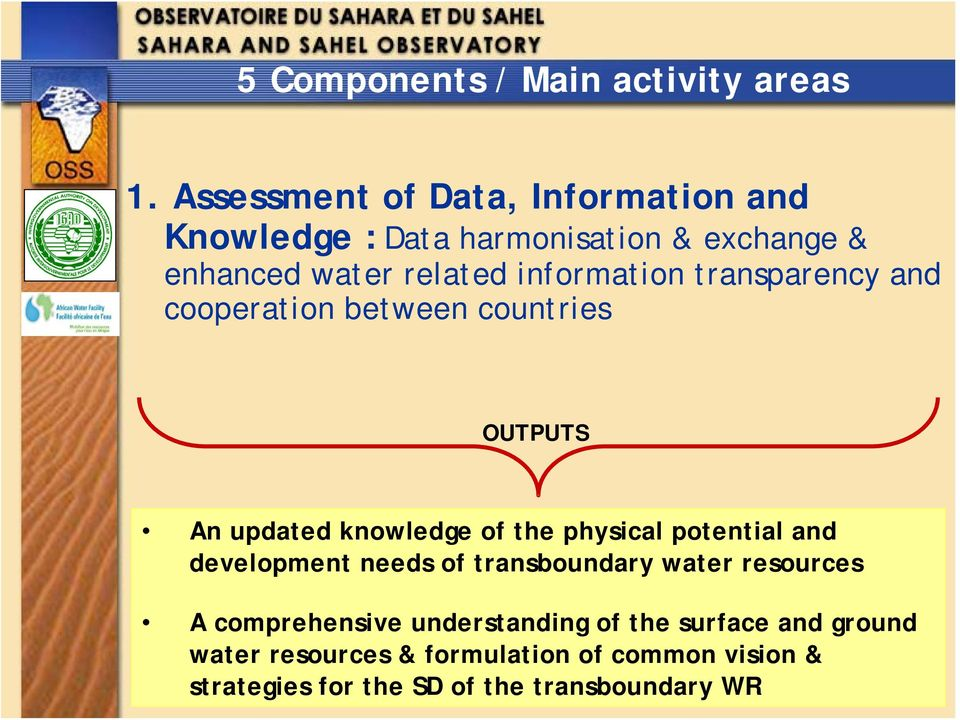 transparency and cooperation between countries OUTPUTS An updated knowledge of the physical potential and