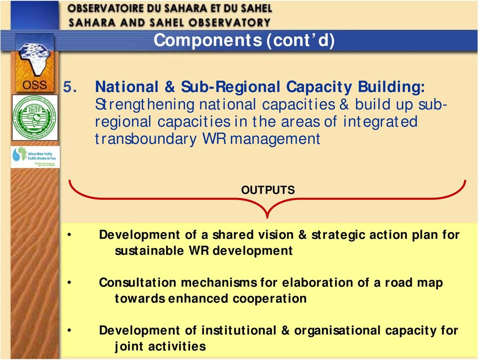 in the areas of integrated transboundary WR management OUTPUTS Development of a shared vision & strategic