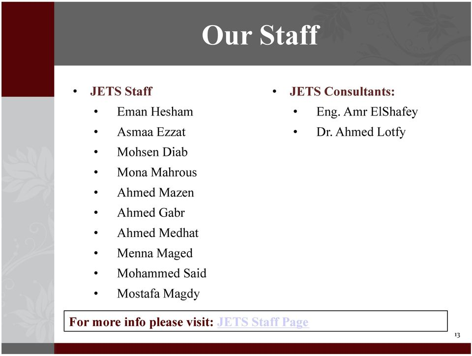 Mohammed Said Mostafa Magdy JETS Consultants: Eng.