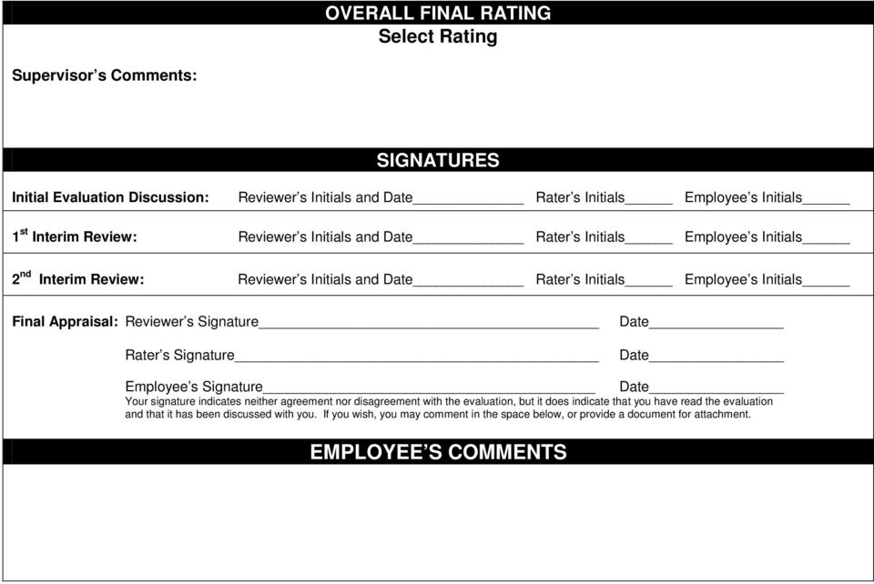 Reviewer s Signature Rater s Signature Date Date Employee s Signature Date Your signature indicates neither agreement nor disagreement with the evaluation, but it does indicate