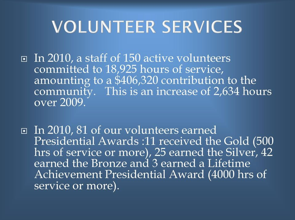 In 2010, 81 of our volunteers earned Presidential Awards :11 received the Gold (500 hrs of service or
