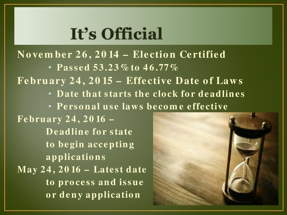 deadlines Personal use laws become effective February 24, 2016 Deadline for