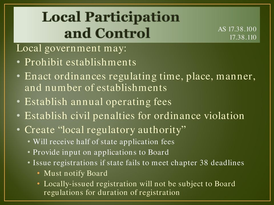 110 Local government may: Prohibit establishments Enact ordinances regulating time, place, manner, and number of establishments