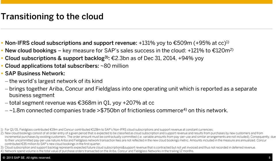 3bn as of Dec 31, 2014, +94% yoy Cloud applications total subscribers: ~80 million SAP Business Network: the world s largest network of its kind brings together Ariba, Concur and Fieldglass into one