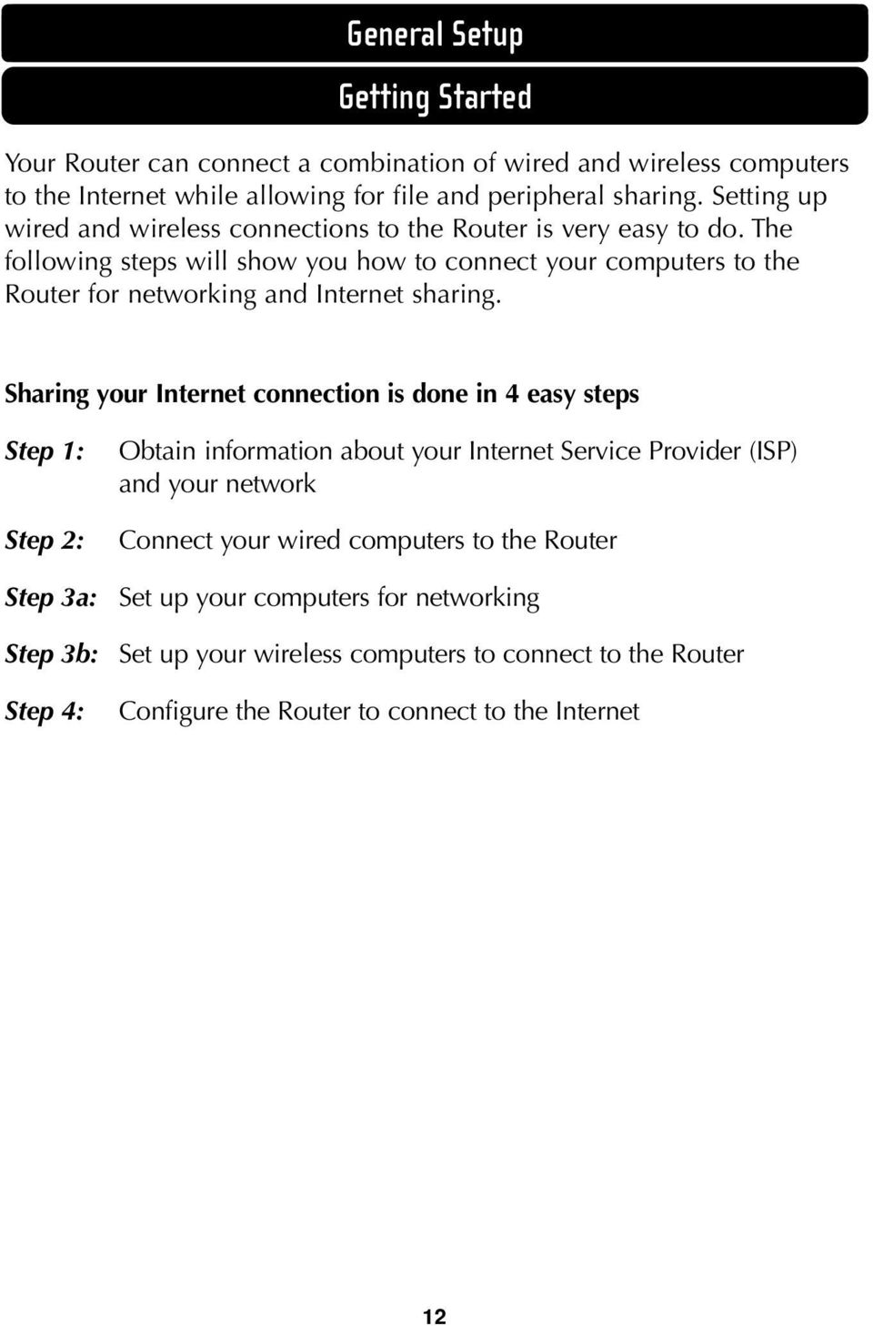 The following steps will show you how to connect your computers to the Router for networking and Internet sharing.
