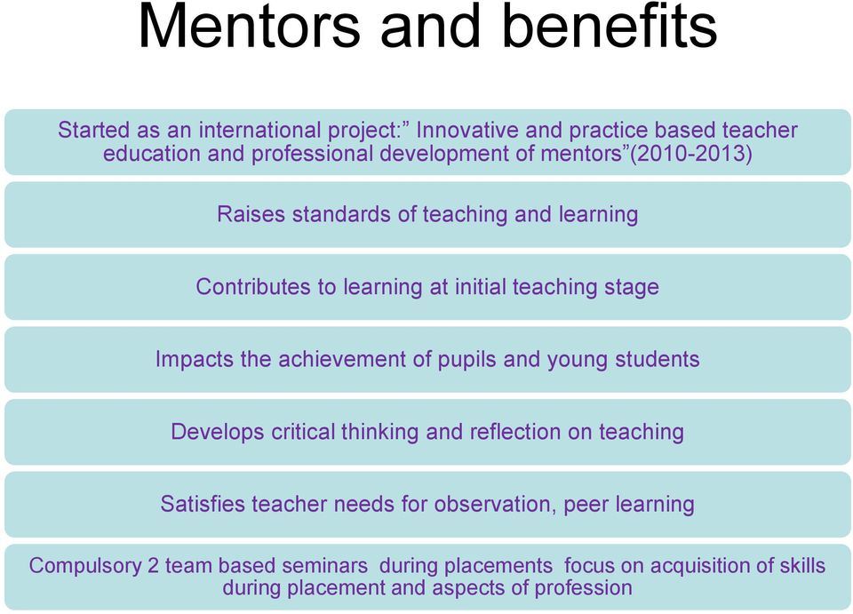 Impacts the achievement of pupils and young students Develops critical thinking and reflection on teaching Satisfies teacher needs