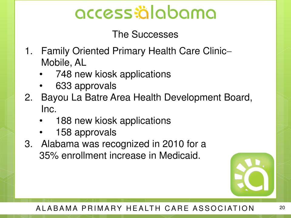 633 approvals 2. Bayou La Batre Area Health Development Board, Inc.