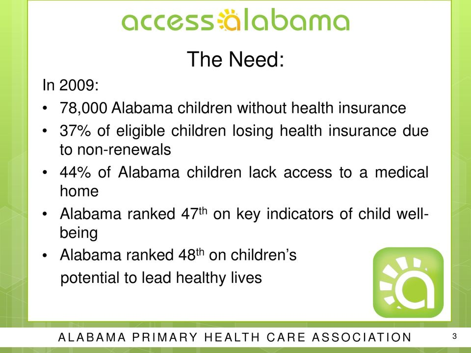 to a medical home Alabama ranked 47 th on key indicators of child wellbeing Alabama