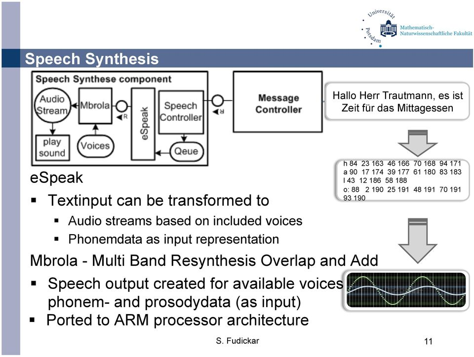 Speech output created for available voices from phonem- and prosodydata (as input) Ported to ARM processor architecture