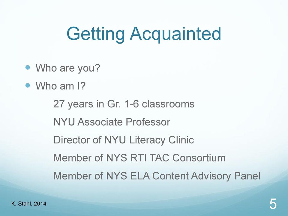 1-6 classrooms NYU Associate Professor Director of