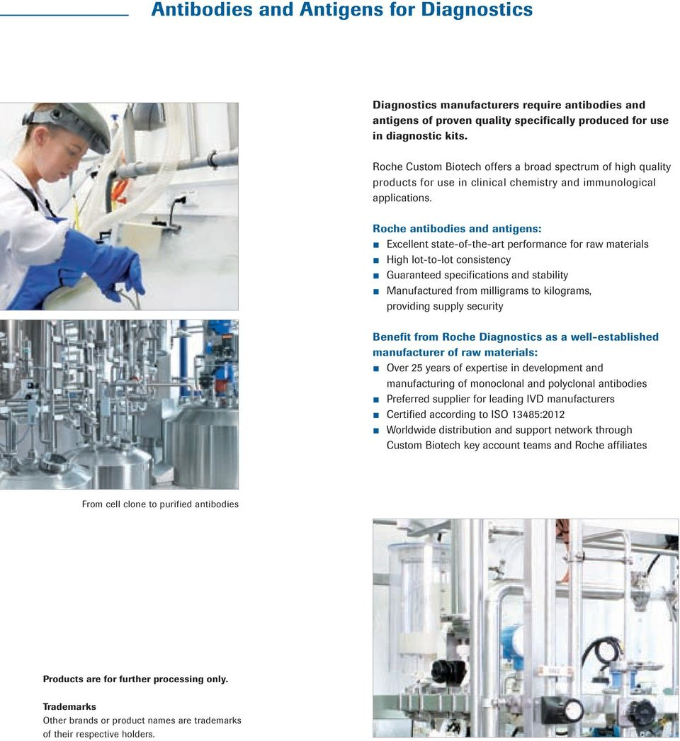 Roche antibodies and antigens: Excellent state-of-the-art performance for raw materials High lot-to-lot consistency Guaranteed specifications and stability Manufactured from milligrams to kilograms,