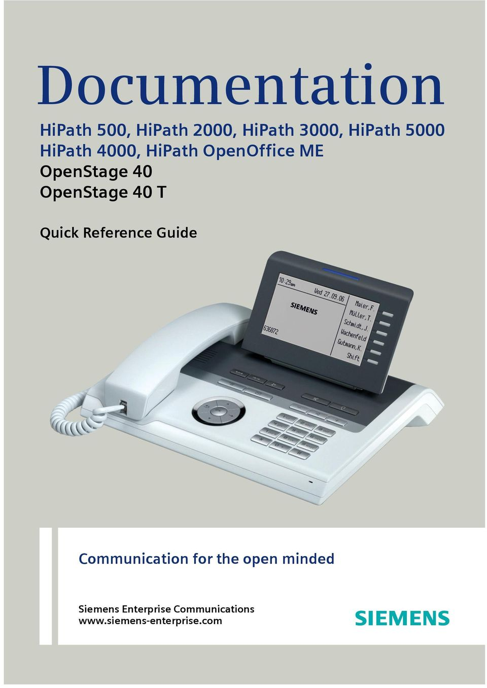 OpenStage 40 T Quick Reference Guide Communication for the