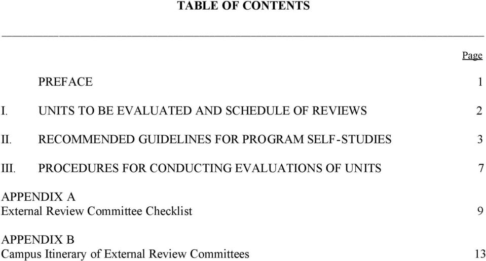 RECOMMENDED GUIDELINES FOR PROGRAM SELF-STUDIES 3 III.