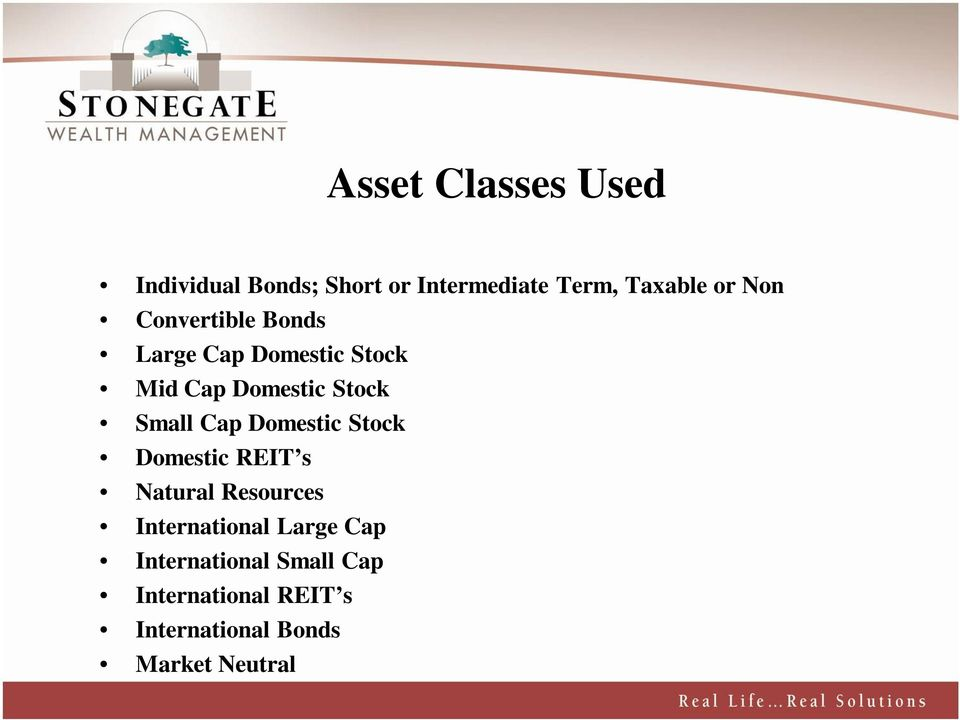 Cap Domestic Stock Domestic REIT s Natural Resources International Large Cap