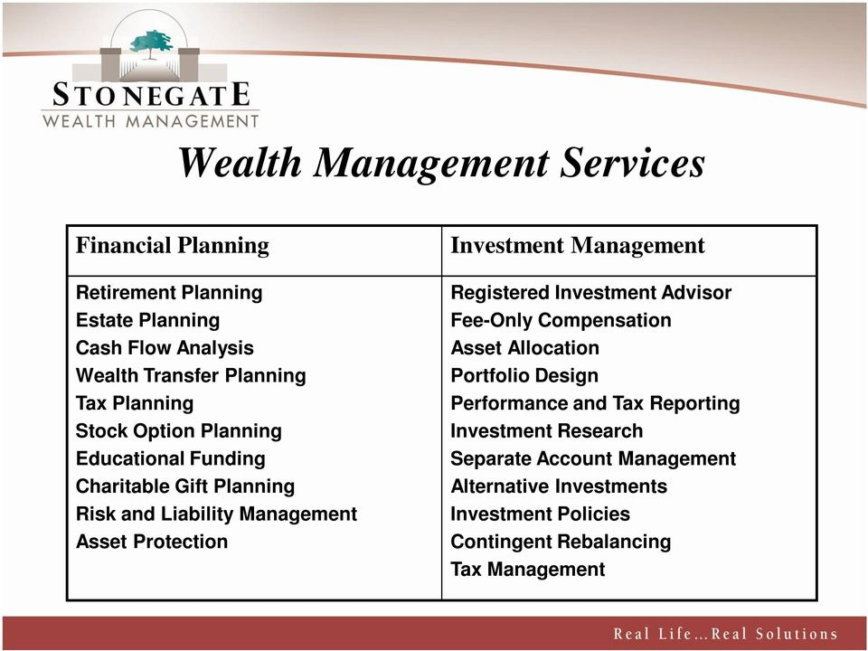 Investment Management Registered Investment Advisor Fee-Only Compensation Asset Allocation Portfolio Design Performance and Tax