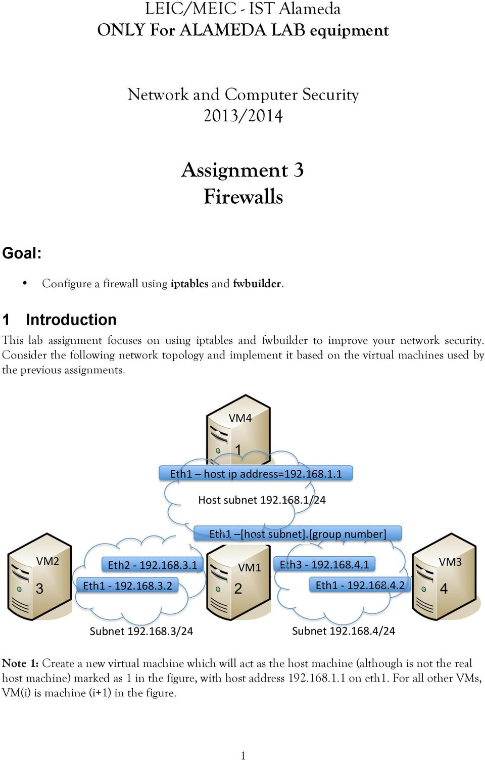 Consider the following network topology and implement it based on the virtual machines used by the previous assignments.