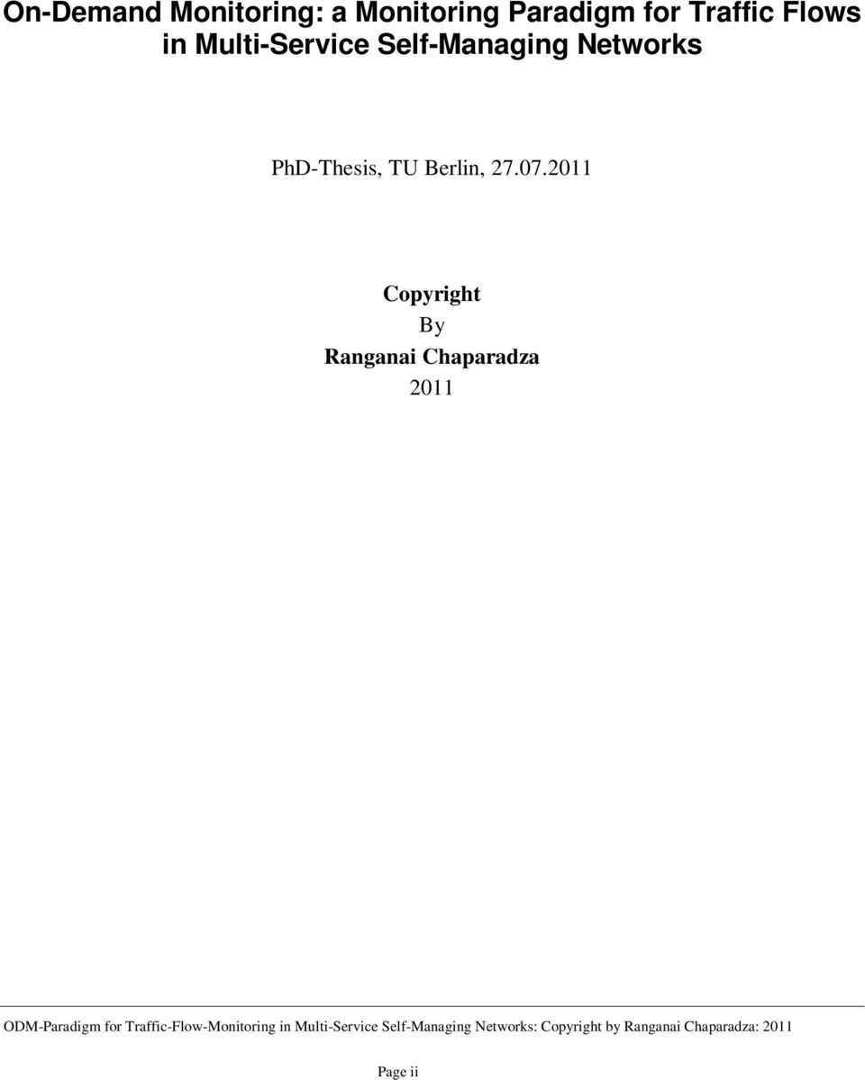 Self-Managing Networks PhD-Thesis, TU Berlin,