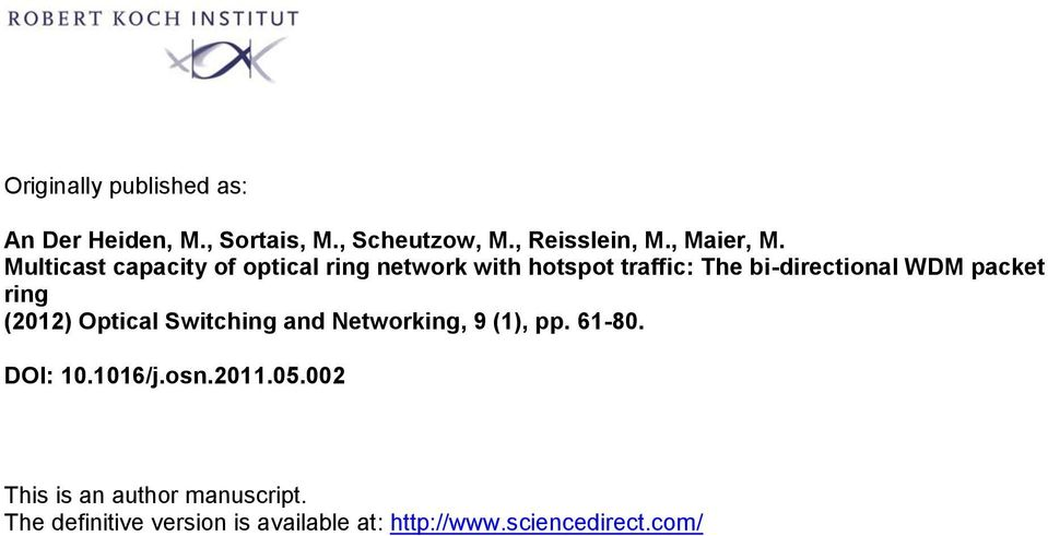 Multicast capacity of optical ring network with hotspot traffic: The bi-directional WDM
