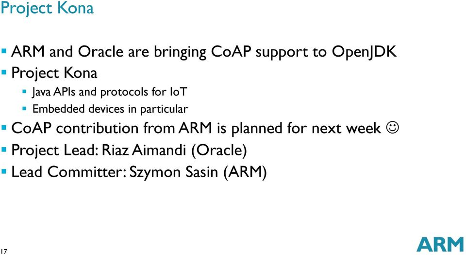 particular CoAP contribution from ARM is planned for next week J
