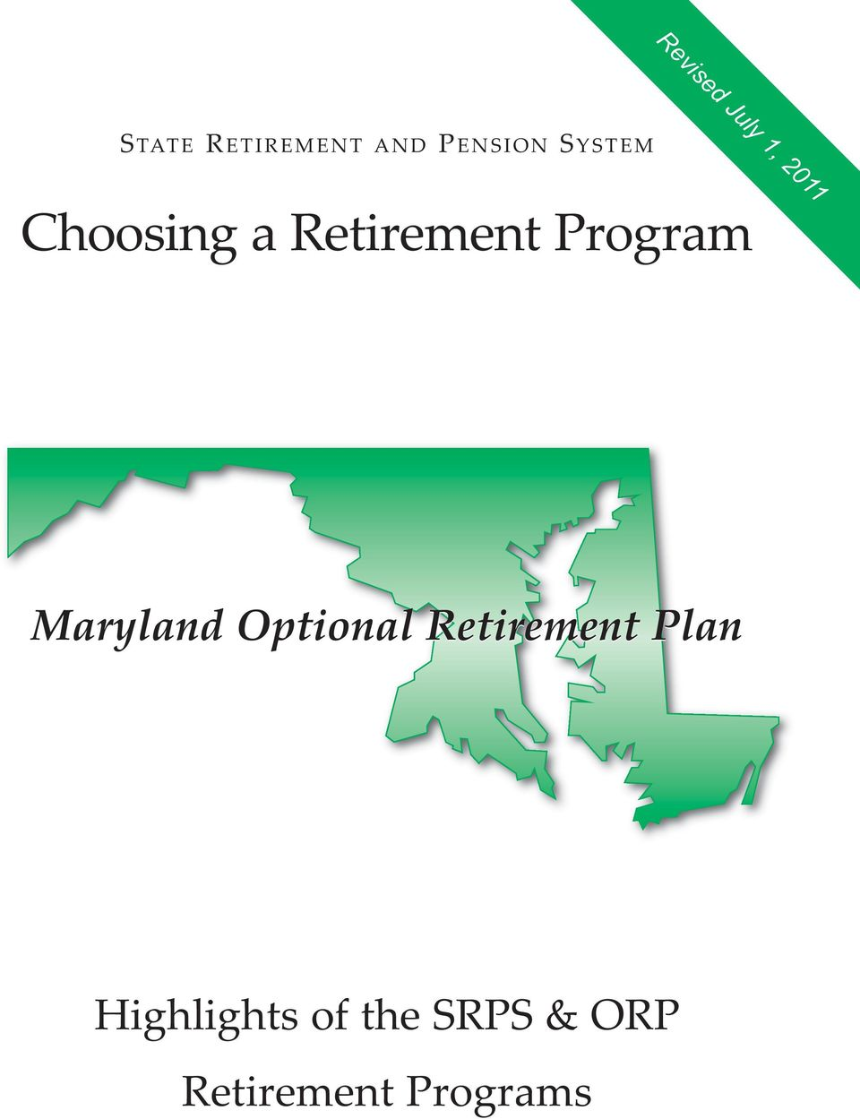 Program Maryland Optional Retirement Plan