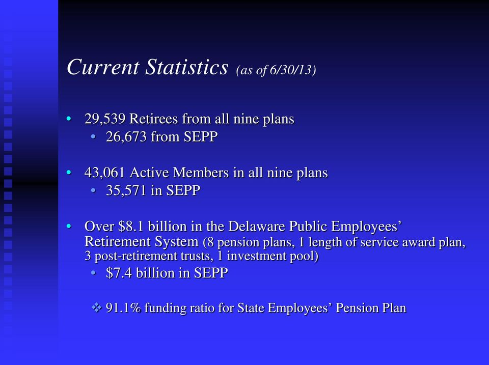 1 billion in the Delaware Public Employees Retirement System (8 pension plans, 1 length of