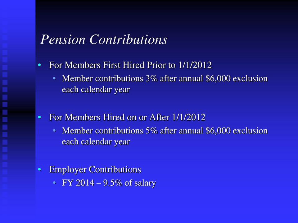 Members Hired on or After 1/1/2012 Member contributions 5% after annual