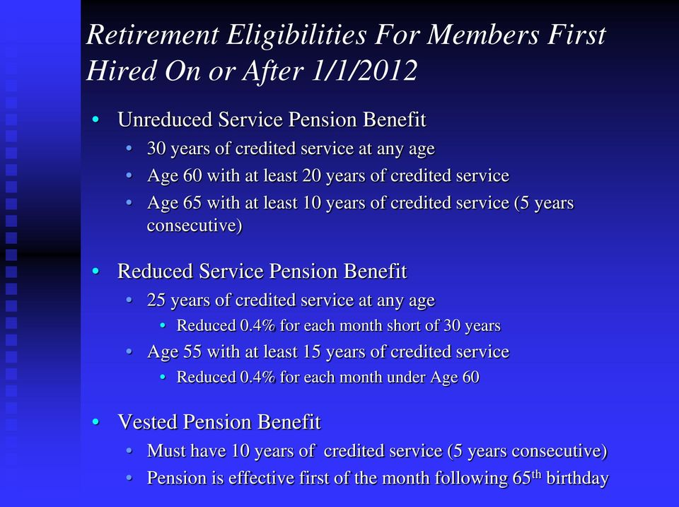 credited service at any age Reduced 0.4% for each month short of 30 years Age 55 with at least 15 years of credited service Reduced 0.