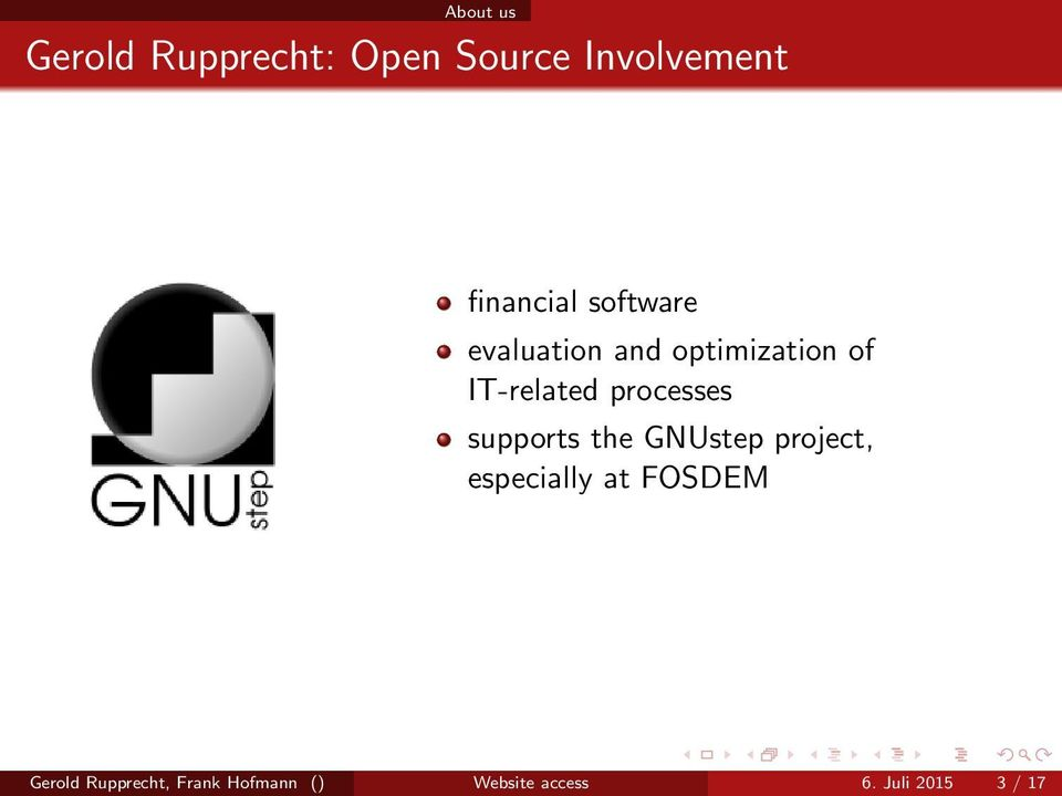 supports the GNUstep project, especially at FOSDEM Gerold