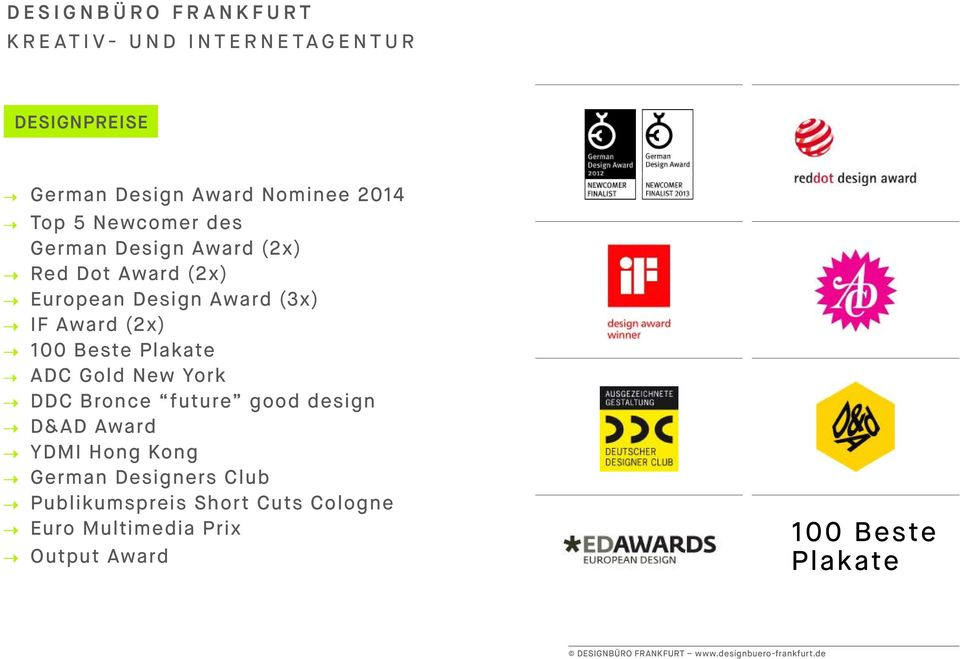 100 Beste Plakate ADC Gold New York DDC Bronce future good design D&AD Award YDMI Hong Kong German