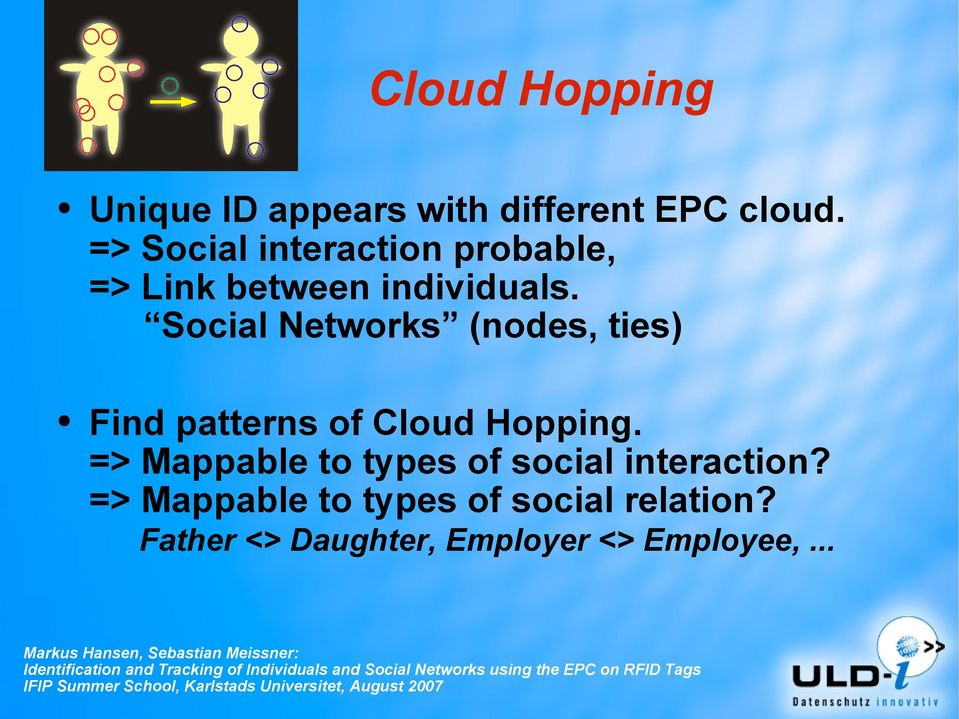 Social Networks (nodes, ties) Find patterns of Cloud Hopping.