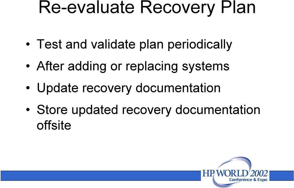 replacing systems Update recovery
