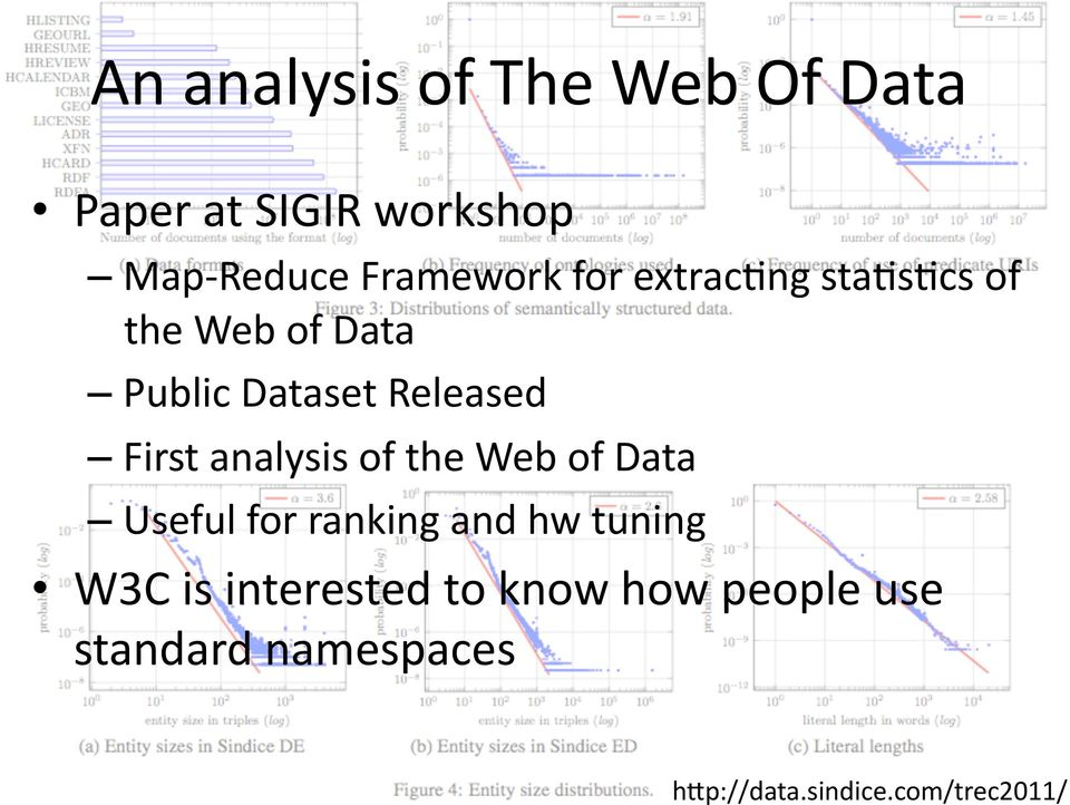 First analysis of the Web of Data Useful for ranking and hw tuning W3C is
