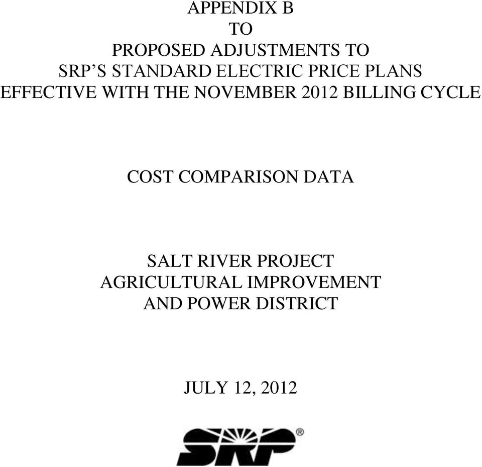 BILLING CYCLE COST COMPARISON DATA SALT RIVER PROJECT