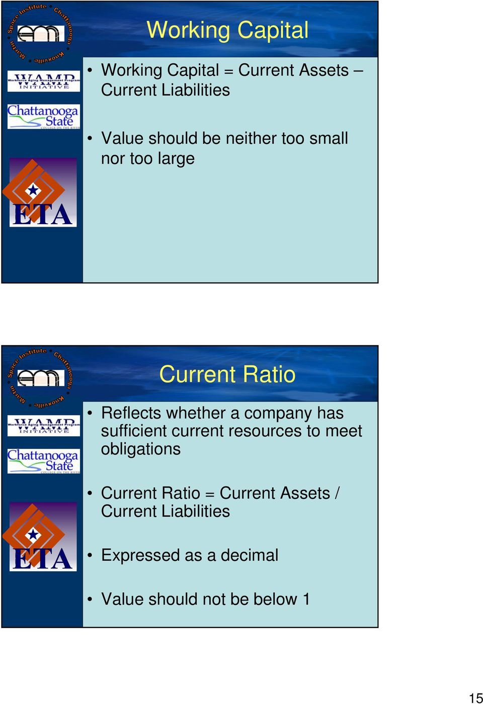 company has sufficient current resources to meet obligations Current Ratio =